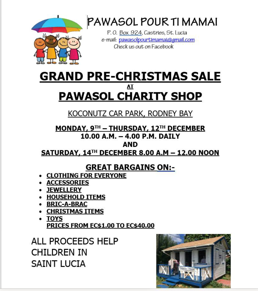 come shop at the pawasol pour ti mamay charity thrift shop at Kokonutz car park
