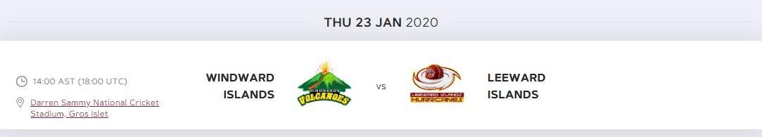 Windward Islands v Leeward Islands cricket tournament 2020 Daren Sammy cricket ground st lucia