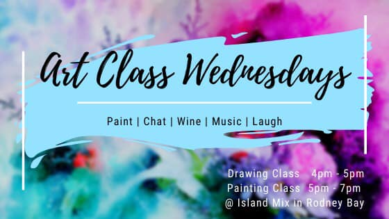 try your hand at drawing and painting in a relaxed and friendly atmosphere - sip wine while you work. Cool n breezy location, friendly chats...at Island Mix on Wednesdays 4-7pm