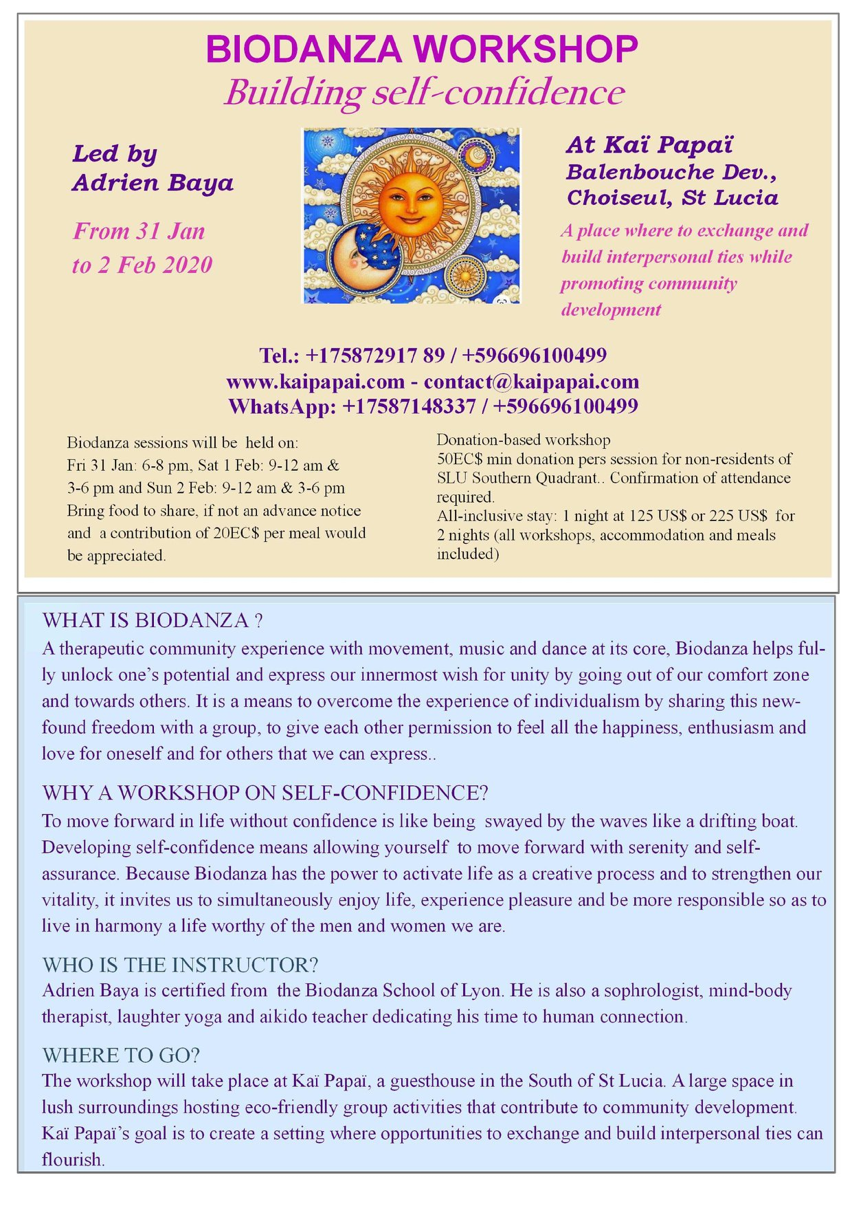 biodanza workshop - building self - confidence, Kai Papai choiseul