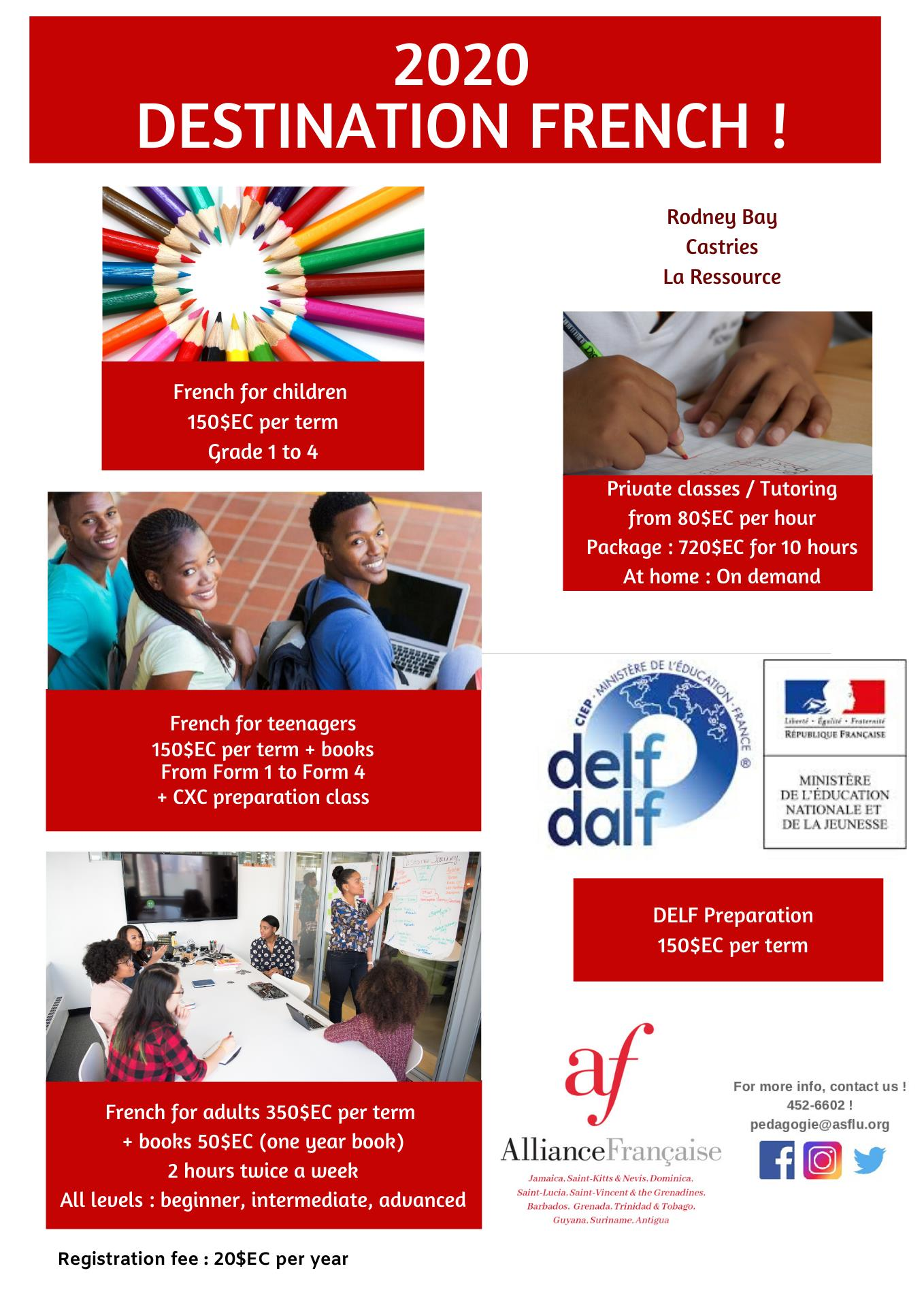 french classes for everyone at the alliance francaise, pointe seraphine, castries