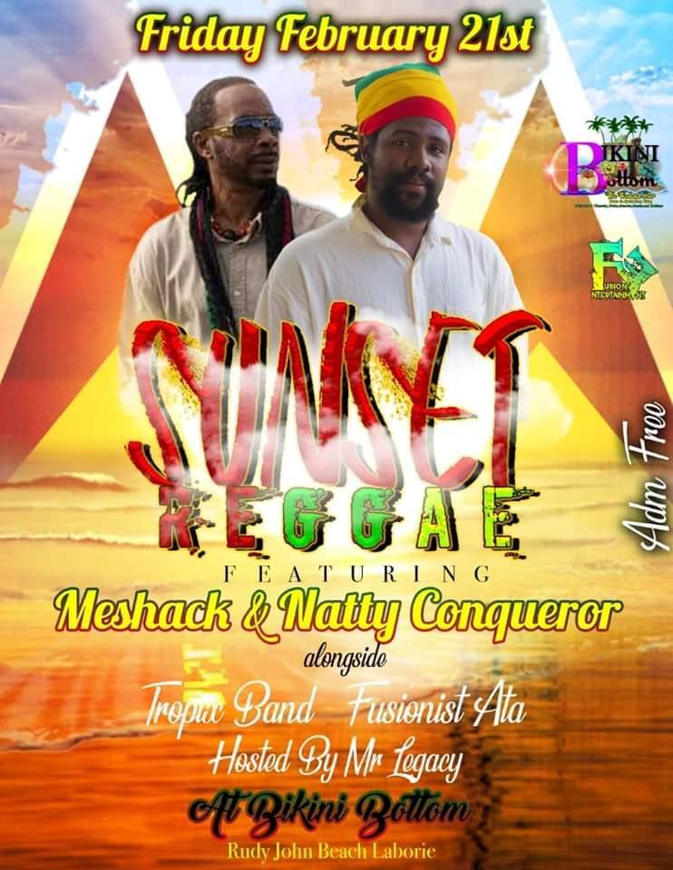 sunset reggae at bikini bottom beach bar meshack and natty conqueror