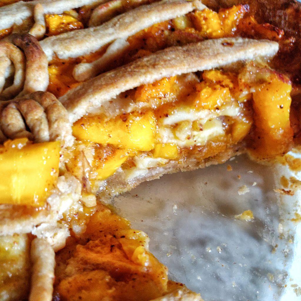 Banana Papaya Pie - lower sugar, super tasty, serves 8 delicious slices