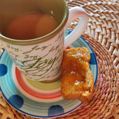 ripe breadfruit citrus cake with homemade sour orange marmalade for tea - joy